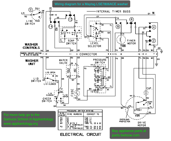 Wiring diagram for a Maytag LSE7806ACE washer