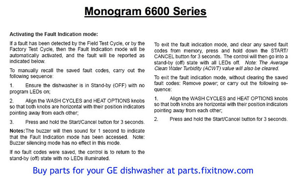 GE Monogram Dishwasher ZBD6600 Diagnostic Mode