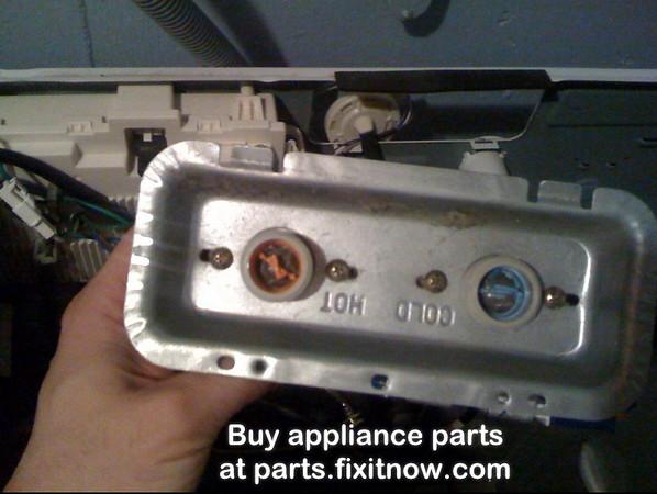 Water inlet valve filter inserts in an LG washing machine