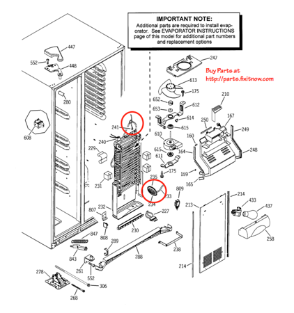 GE Profile and Arctica Refrigerator Thermistor Locations - Freezer Compartment