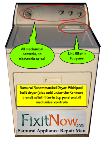 Whirlpool-built Dryer with Lint Filter in the Top Panel