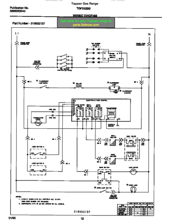 Tappan Gas Range TGF362BBBA Wiring Diagram