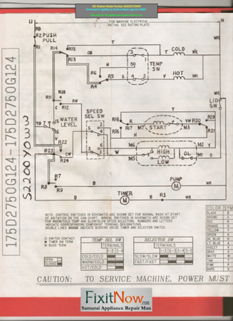 GE Washer Model Number S22OOYOWW Schematic