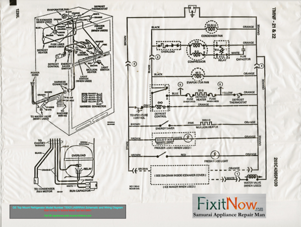 GE Top Mount Refrigerator Model Number TBX21JABRRAA Schematic and Wiring  Diagram | Fixitnow.com Samurai Appliance Repair Man | Refrigerator Wiring Diagram |  | Fixitnow.com Samurai Appliance Repair Man