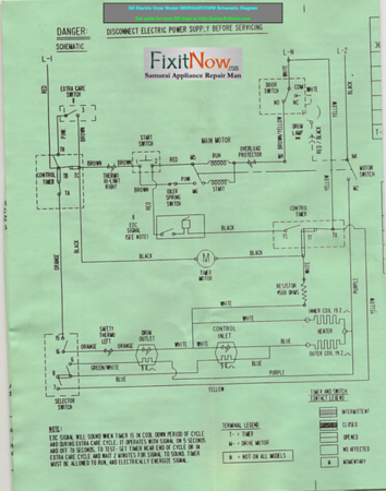 GE Electric Dryer Model DBXR453EVOWW Schematic Diagram and Troubleshooting  Tech Sheet | Fixitnow.com Samurai Appliance Repair Man