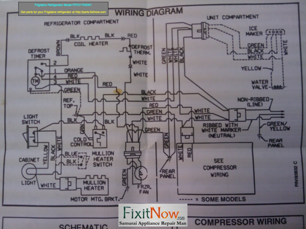 Frigidaire Refrigerator Model FRT21T Wiring Diagram ... on