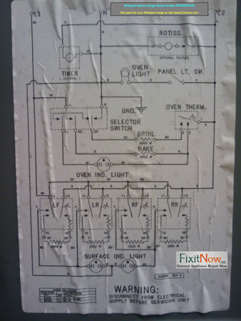Whirlpool Electric Range Model Number RF330PXPNO Wiring Diagram |  Fixitnow.com Samurai Appliance Repair Man | Whirlpool Stove Wiring Schematic |  | Fixitnow.com Samurai Appliance Repair Man