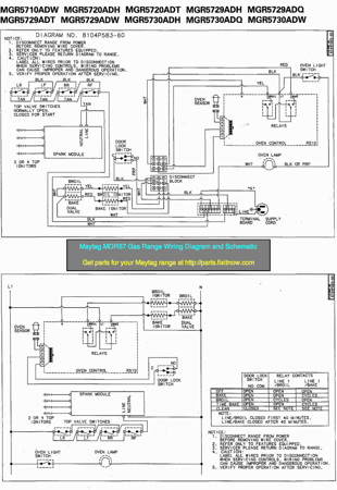 Maytag MGR57 Gas Range Wiring Diagram and Schematic