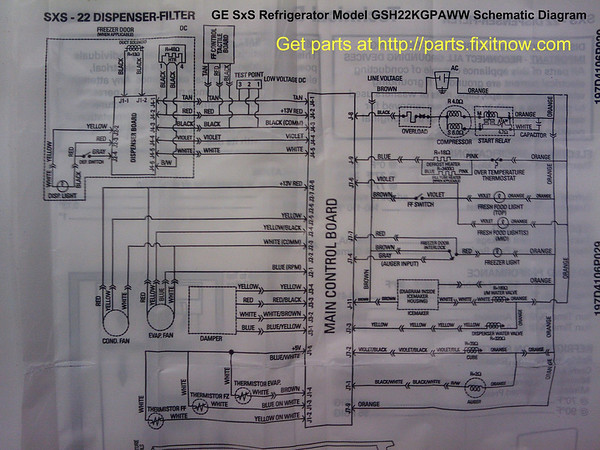 GE SxS Refrigerator Model GSH22KGPAWW Schematic Diagram