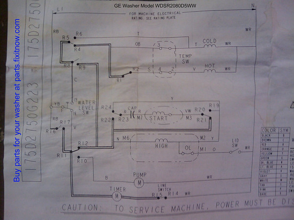 GE washer Mod# WDSR2080D5WW Schematic