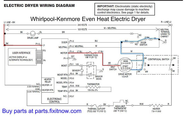 1192078125_VA4t8 M whirlpool kenmore \u201ceven heat\u201d dryer lights come on but the motor wiring diagram whirlpool dryer at gsmx.co