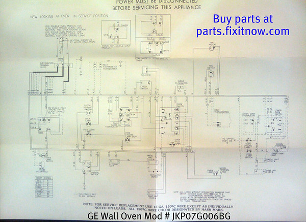 GE Wall Oven Model JKP07G006BG Wiring Diagram | Fixitnow.com ... Ge Oven Schematic Diagram on