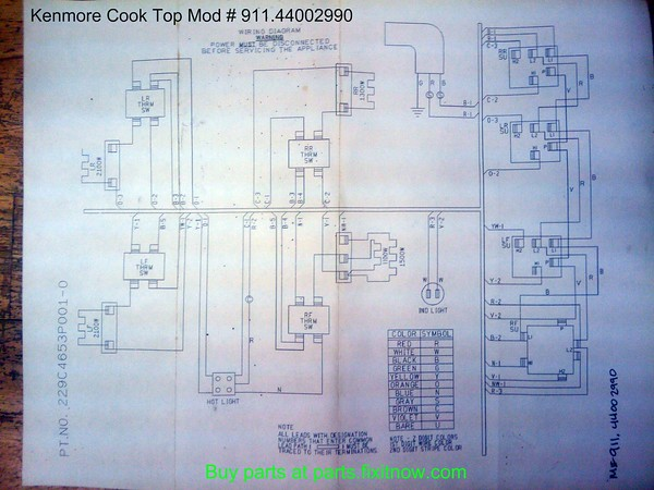 Kenmore (GE) Cook Top Model Number 911.44002990 Schematic