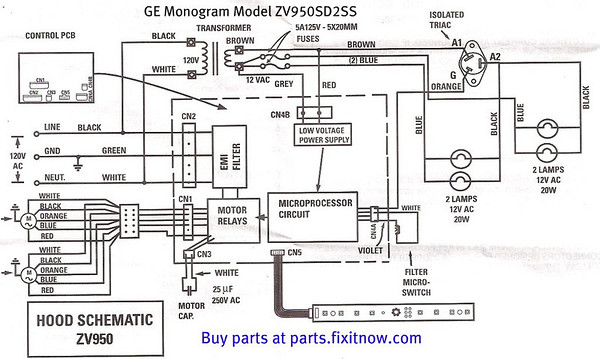 ge monogram range vent hood model zv950sd2ss schematic and bonus rh fixitnow com ge double oven wiring diagram ge profile oven wiring diagram