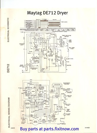 Maytag DE712 Dryer Wiring Diagram and Schematic | Fixitnow.com ...