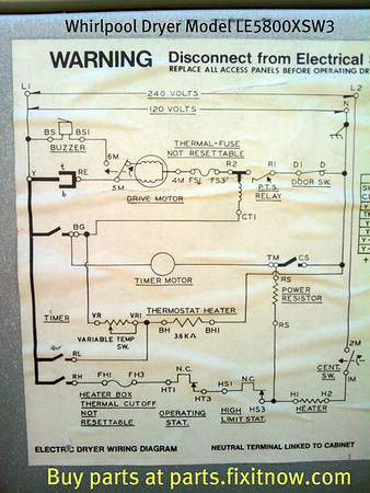 Whirlpool Dryer Model LE5800XSW3 Wiring Diagram | Fixitnow.com ... dryer parts names Fixitnow.com Samurai Appliance Repair Man
