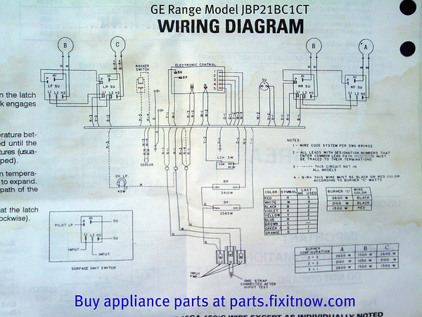 GE Range Model JBP21BC1CT Wiring Diagram Fixitnow com