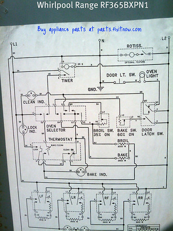 Whirlpool Range Model RF365BXPN1 Wiring Diagram | Fixitnow.com Samurai Appliance  Repair Man | Whirlpool Stove Wiring Schematic |  | Fixitnow.com Samurai Appliance Repair Man