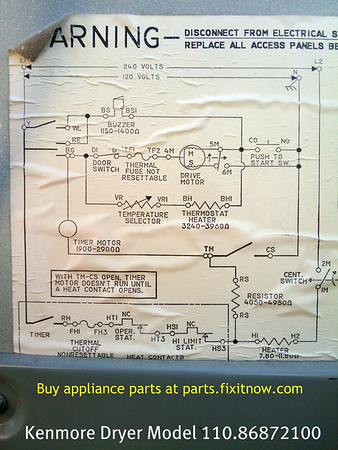 kenmore dryer model 110 86872100 schematic diagram