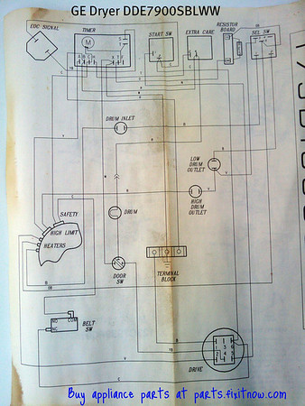 GE Dryer DDE7900SBLWW Wiring Diagram