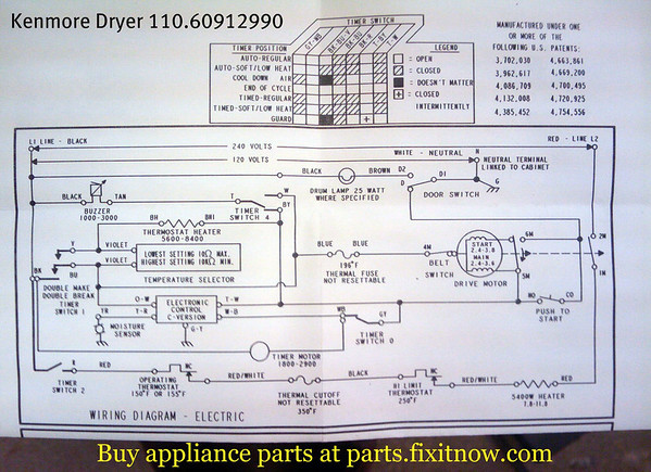 Kenmore Dryer 110.60912990 Schematic