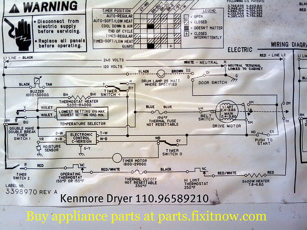 Kenmore Dryer 110.96589210 Schematic