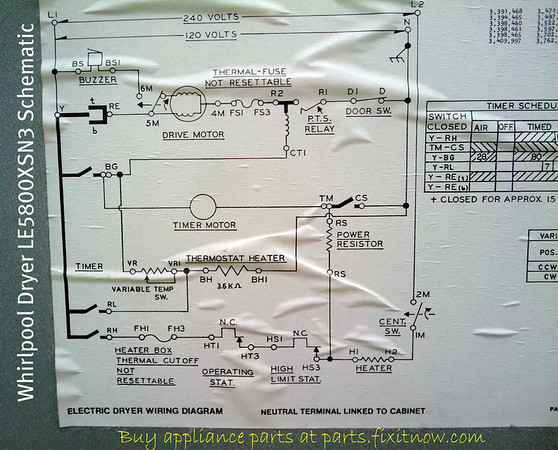 wiring diagrams and schematics fixitnow com samurai appliance whirlpool dryer le5800xsn3 schematic