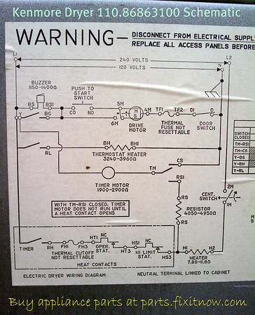 Kenmore Dryer 110.86863100 Schematic